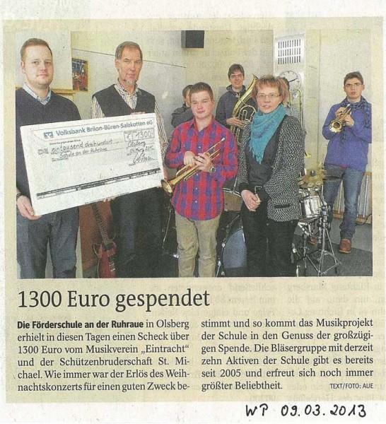 Zeitungsartikel Spendenübergabe WK2012